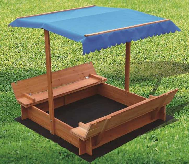 Covered Sandbox With Canopy